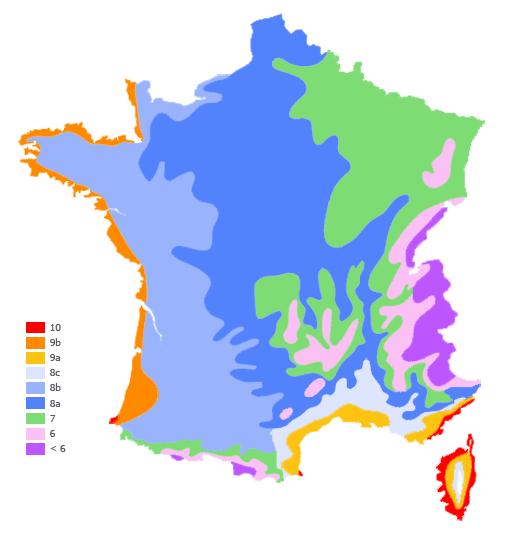 Risultati immagini per zone de rusticitè francia